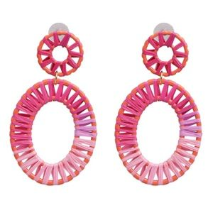 Pink Purple Rattan Oval Large Drop Trendy Earrings